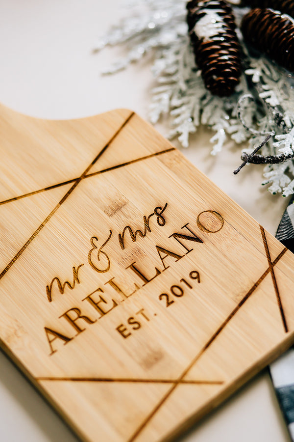 Shimmer Custom Last Name Engraved Paddle Bamboo Cutting Board