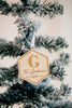 Monogram Hexagon Custom Engraved Christmas Ornament '19, Acrylic or Wood