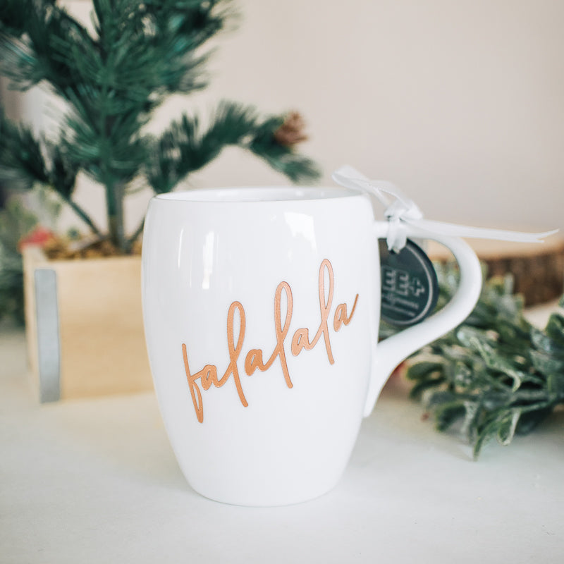 Falala Holiday Engraved Mug, Porcelain