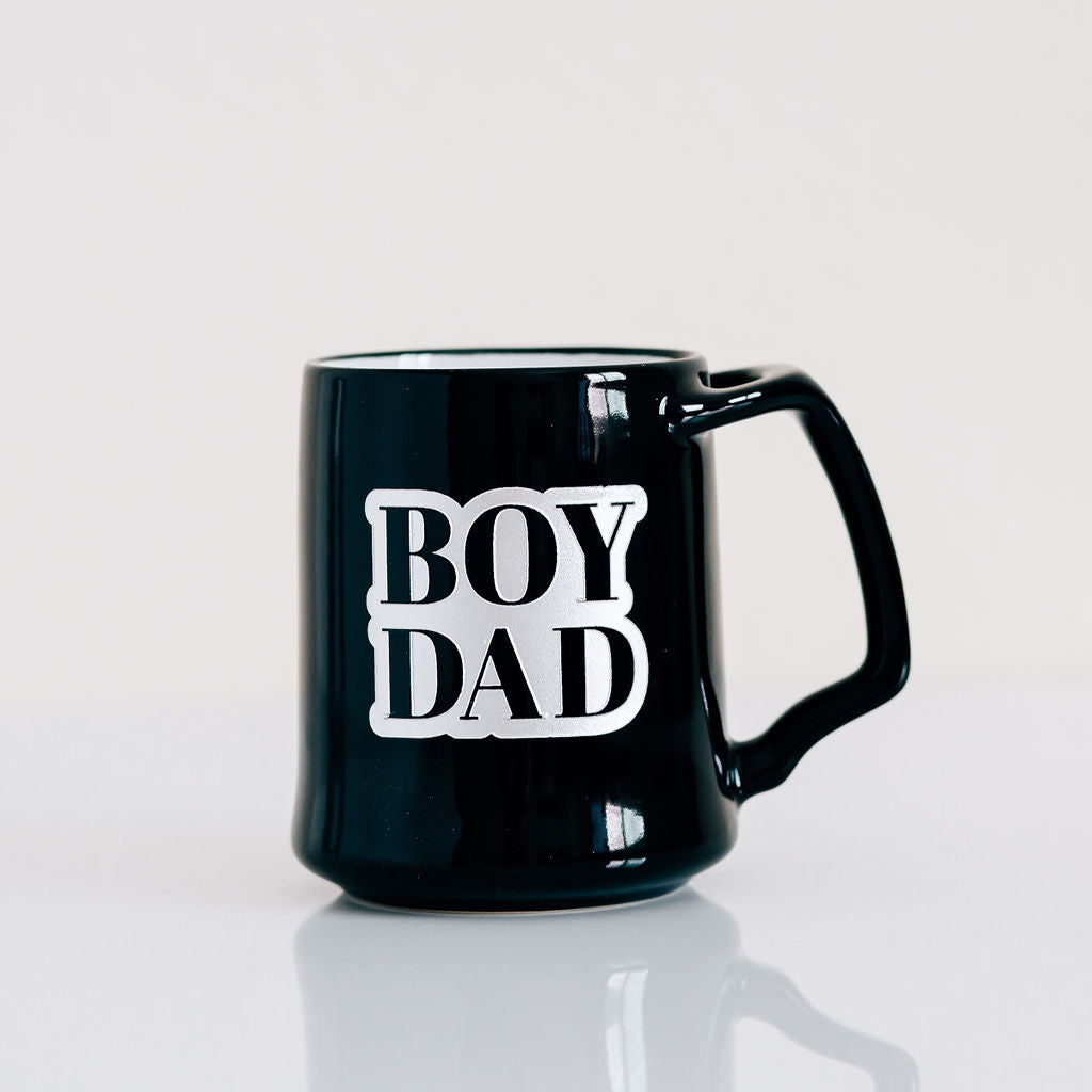 Boy Dad Coffee Mug, Engraved Porcelain - Black