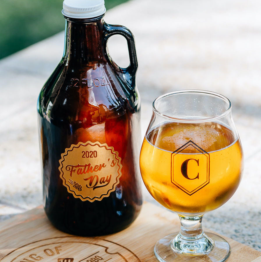 Gift Set: Father's Day Engraved Growler & Stemmed Beer Glass