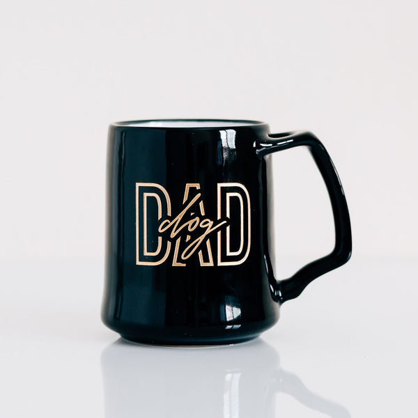 Bold Dog Dad Coffee Mug, Engraved Porcelain - Black