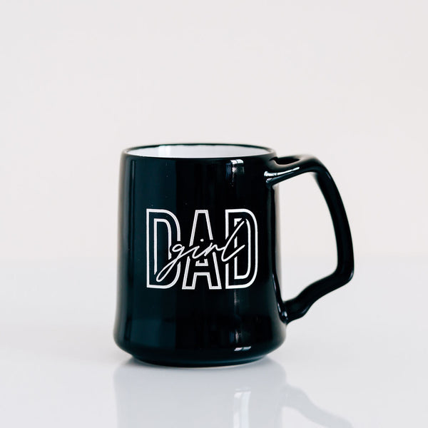 Bold Girl Dad Coffee Mug, Engraved Porcelain - Black