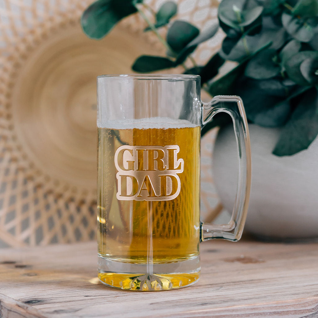 Girl Dad Engraved Beer Mug with Handle, 25oz