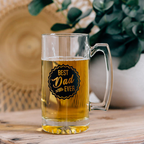 Best Dad Ever Circle Engraved Beer Mug with Handle, 25oz