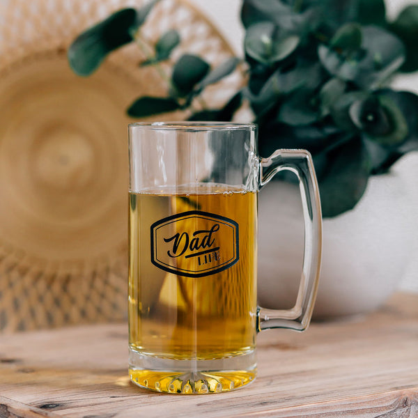Dad Life Engraved Beer Mug with Handle, 25oz