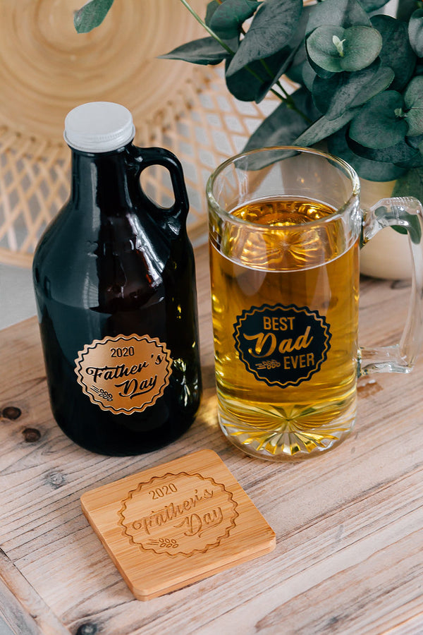 Gift Set: Father's Day Engraved Growler, Beer Mug & Coaster