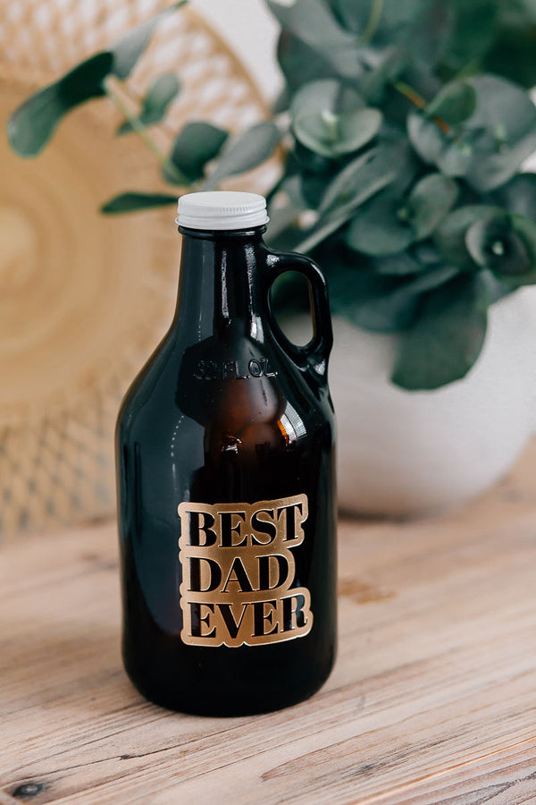 Best Dad Ever Engraved Beer Growler, 32oz