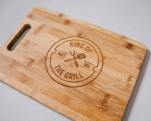 King of the Grill Engraved Rectangle Bamboo Cutting Board