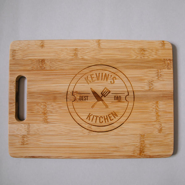 Dad's Kitchen Custom Engraved Rectangle Bamboo Cutting Board