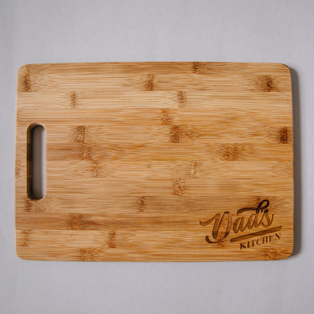 Dad's Kitchen Engraved Rectangle Bamboo Cutting Board