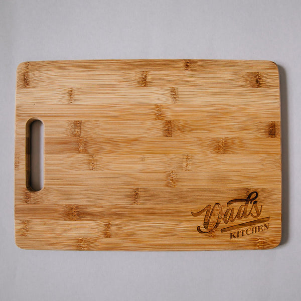 Custom Engraved Dad's Kitchen w/ Name Rectangle Bamboo Cutting Board