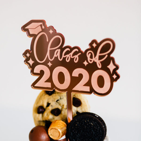 "4.75"" Class of 2020 Engraved Graduation Cake Topper, Acrylic or Wood"