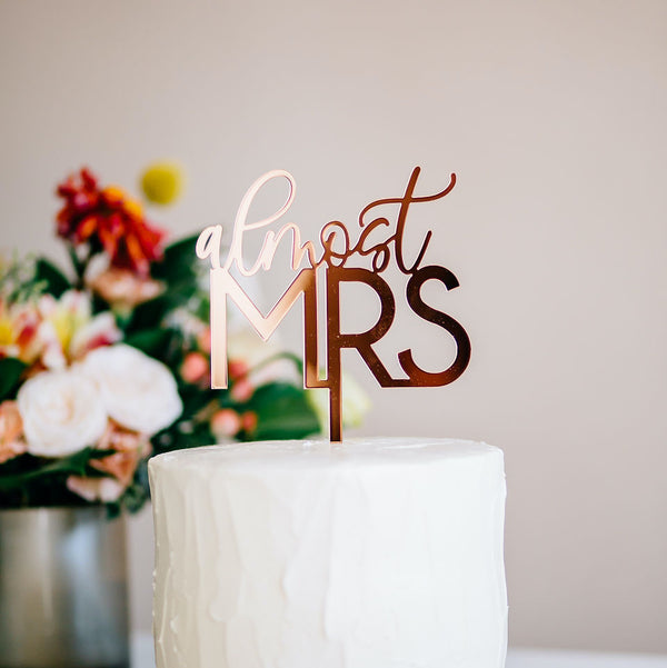 "5"" Almost Mrs Cake Topper - Darling Acrylic or Wood"