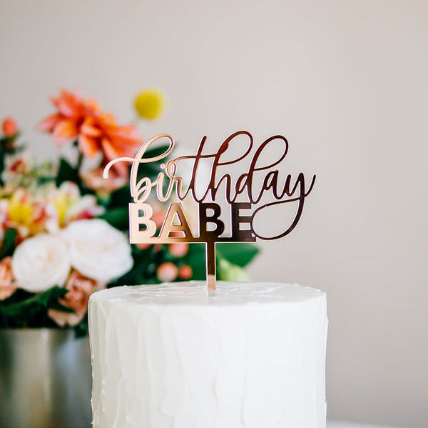 "5.75"" Birthday Babe Cake Topper - Darling, Acrylic or Wood"