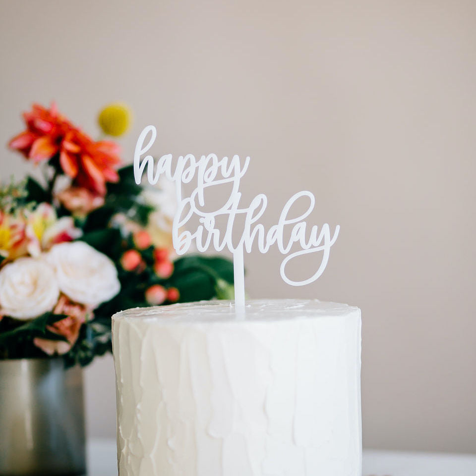 "5.25"" Happy Birthday Cake Topper - Darling, Acrylic or Wood"