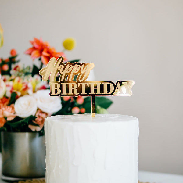 "6.5"" Happy Birthday Engraved Cake Topper - Dreamer, Acrylic or Wood"