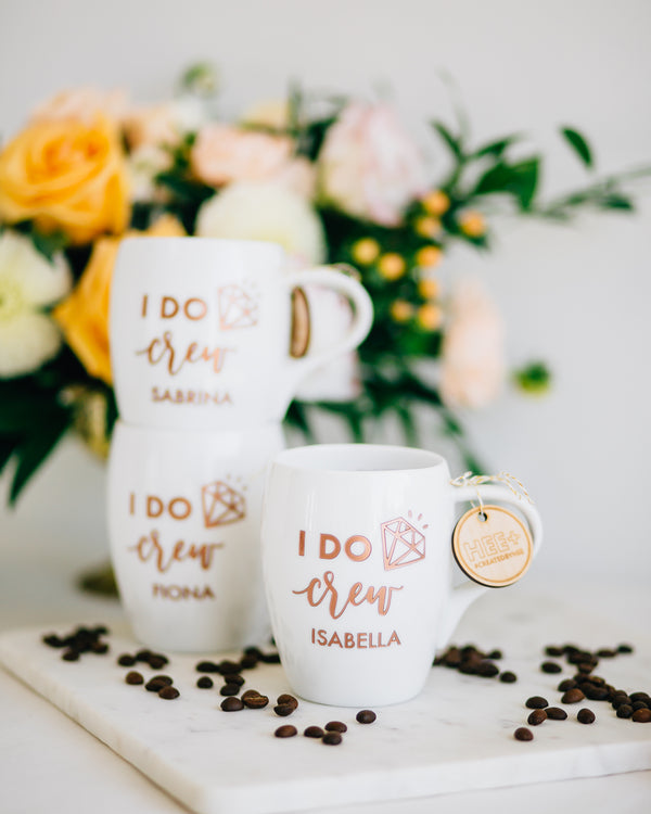 Set of 4 - Personalized Bridesmaid Coffee Mug, Engraved White Porcelain