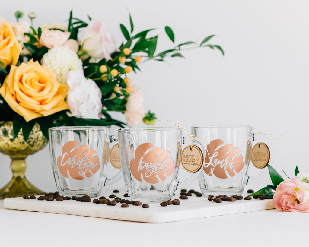 Set of 6 - Custom Glass Coffee Mug, Engraved Tempo Square Glass