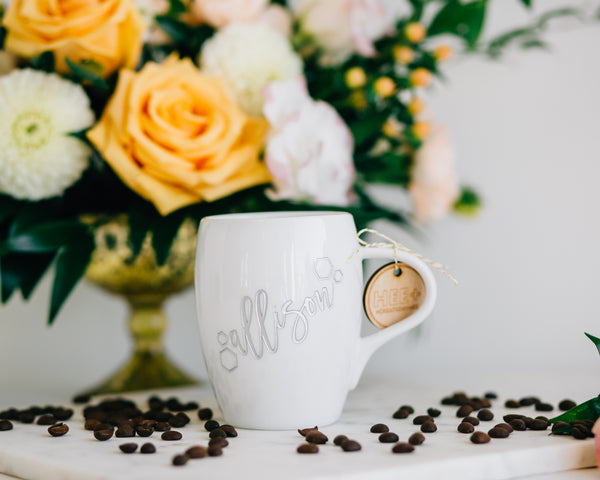 Set of 8 - Personalized Bridesmaid Coffee Mug, Engraved White Porcelain