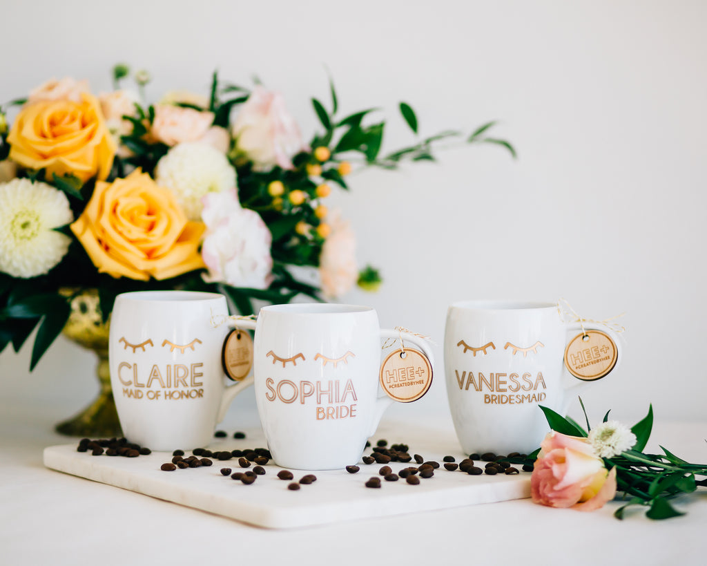 Set of 6 - Personalized Bridesmaid Coffee Mug, Engraved White Porcelain