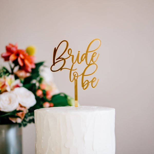 "4"" Bride to Be Cake Topper - Darling, Acrylic or Wood"