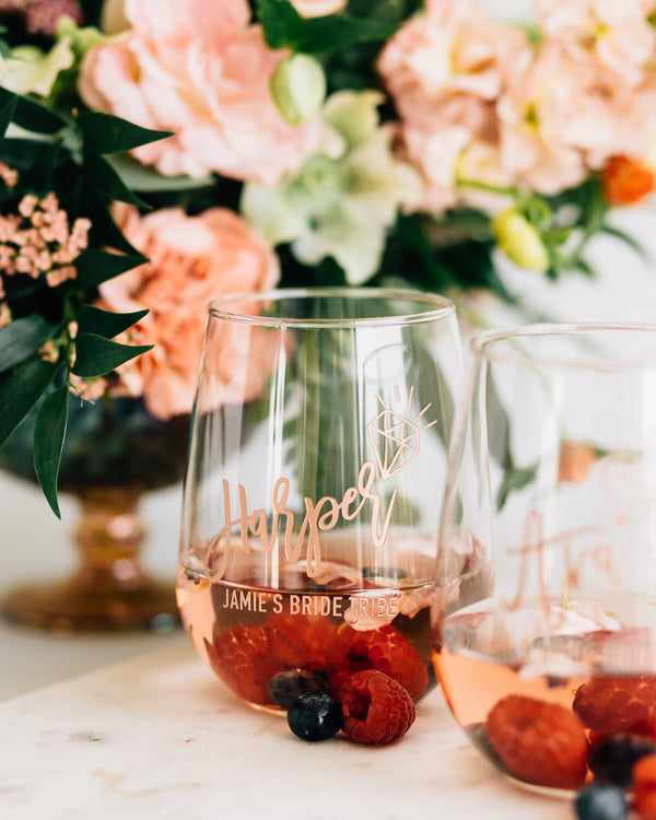 Set of 4 - Custom Bridal Party Stemless Wine Glass