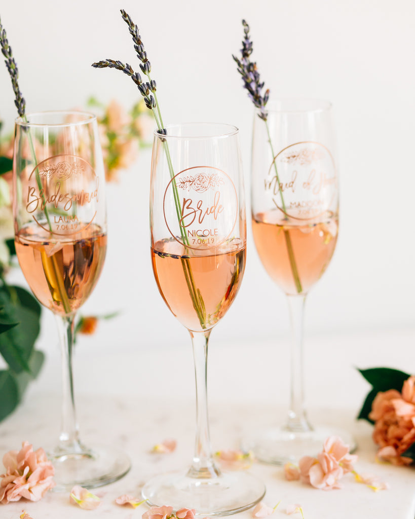 Set of 3 - Custom Bridal Party Champagne Flutes
