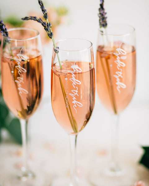 Set of 5 - Custom Bridal Party Champagne Flutes