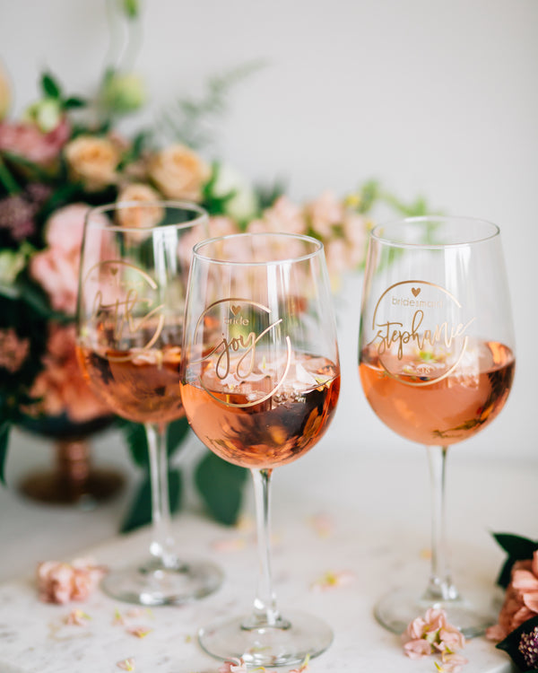 Custom Bridal Party Wine Glass
