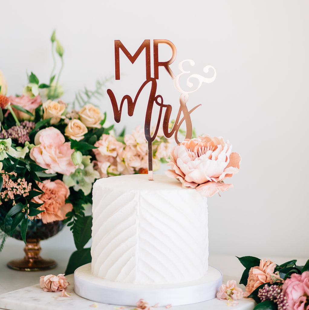 "6"" Blushing Mr & Mrs Cake Topper, Acrylic"