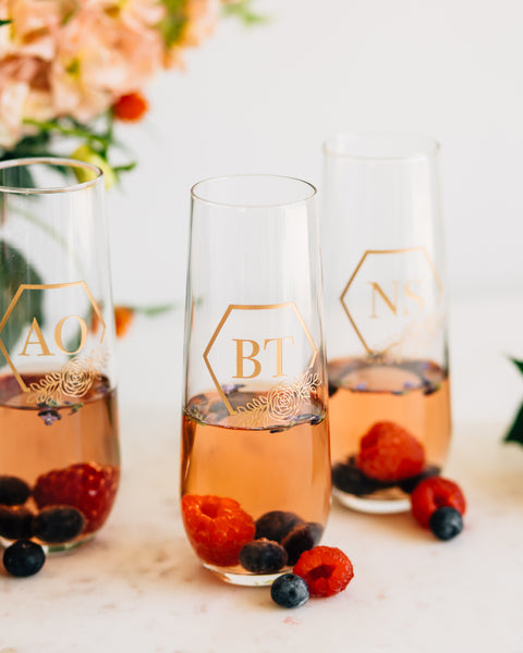 Custom Bridal Party Stemless Champagne Flute