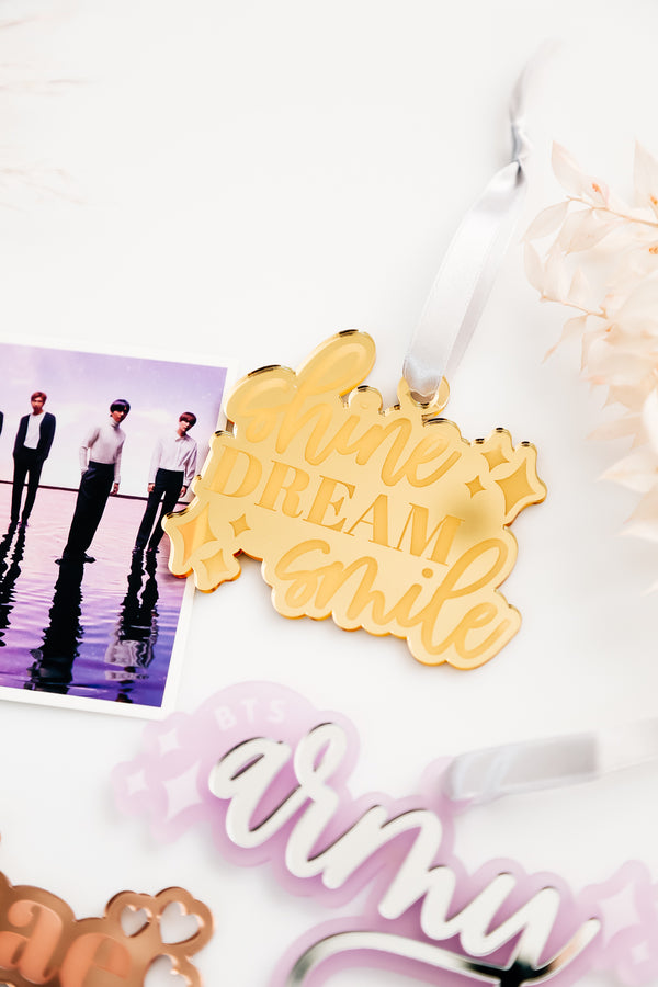 Shine, Dream, Smile, BTS Christmas Ornament, Acrylic