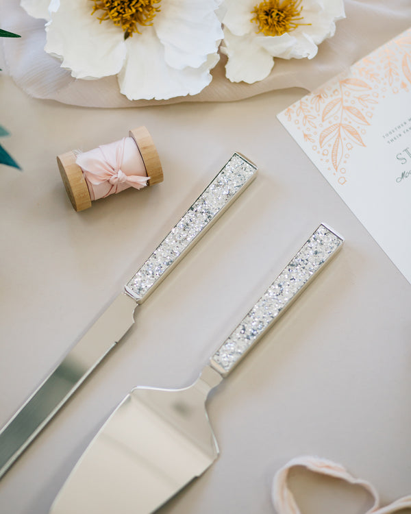 Kate Spade Simply Sparkling Silver Wedding Cake Knife and Server Set