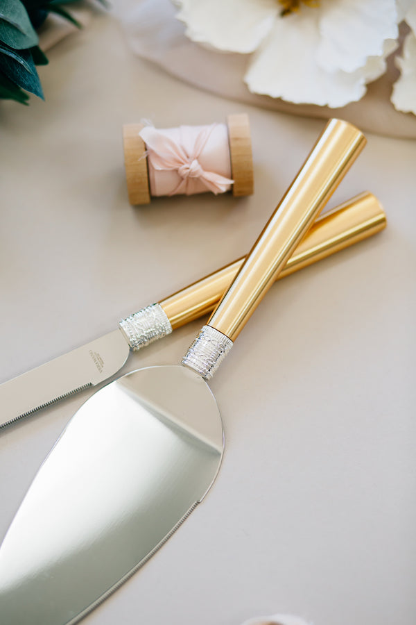 Vera Wang With Love Gold Wedding Cake Knife and Server Set