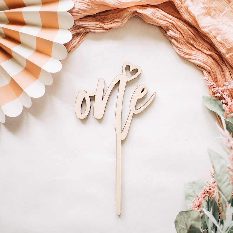 "4"" Sweetheart Number Cake Topper, Wood"