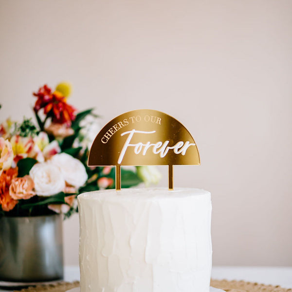 "5.5"" Cheers to Our Forever Cake Topper, Double Layer, Acrylic or Wood"