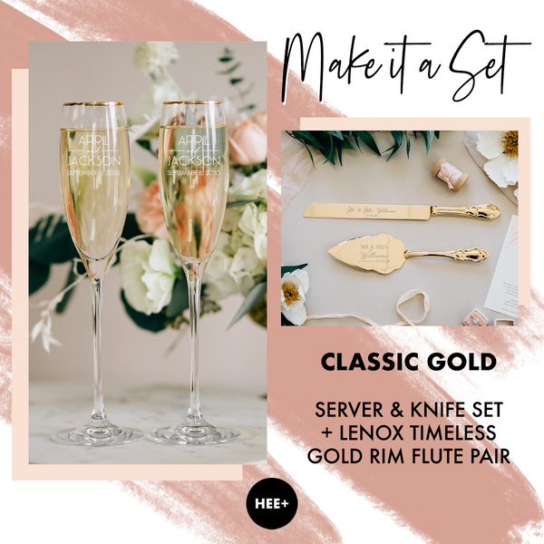 Lenox Timeless Gold Rim Toasting Flutes & Classic Gold Cake Server Set Package