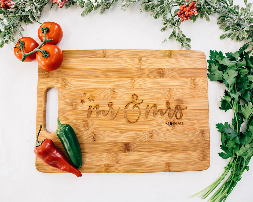 Star Bright Mr & Mrs Custom Engraved Cutting Board, Bamboo