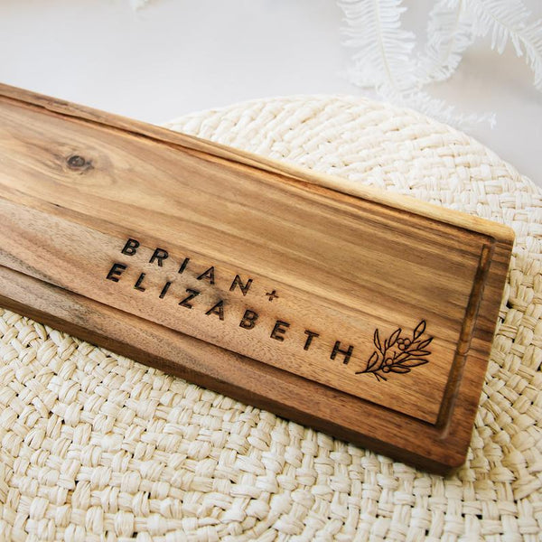 Minimal Acacia Wood Cheese Boards, Custom Engraved - Set of 2