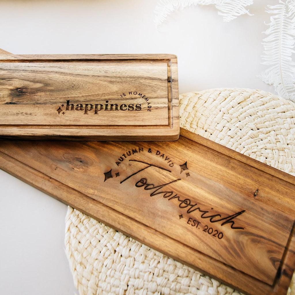 Shine Bright Acacia Wood Cheese Boards, Custom Engraved - Set of 2