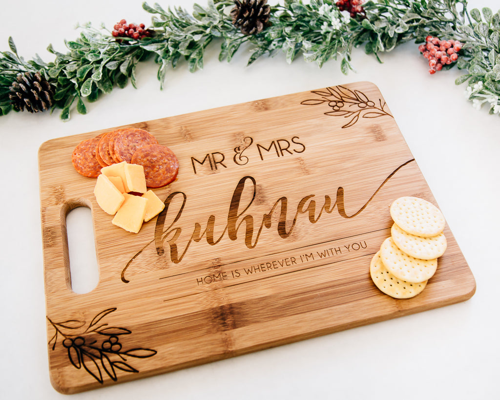 Home is With You Personalized Cutting Board, Bamboo