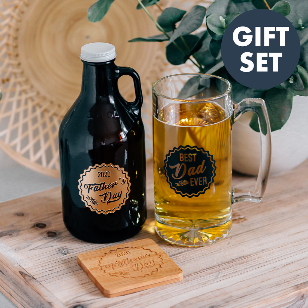 Gift Set Father S Day Engraved Growler Beer Mug Coaster Happily Ever Etched
