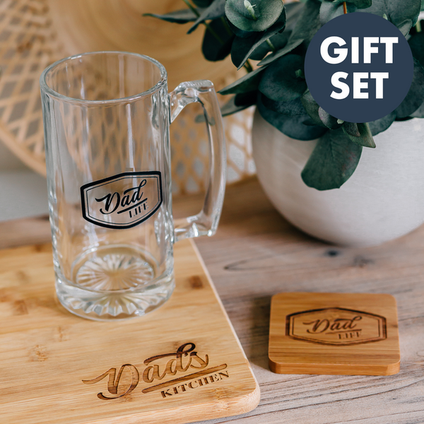 Gift Set: Dad Life Engraved Beer Mug, Dad's Kitchen Cutting Board & Coaster