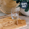 Gift Set: Engraved Whiskey Glass, Cutting Board & Coaster