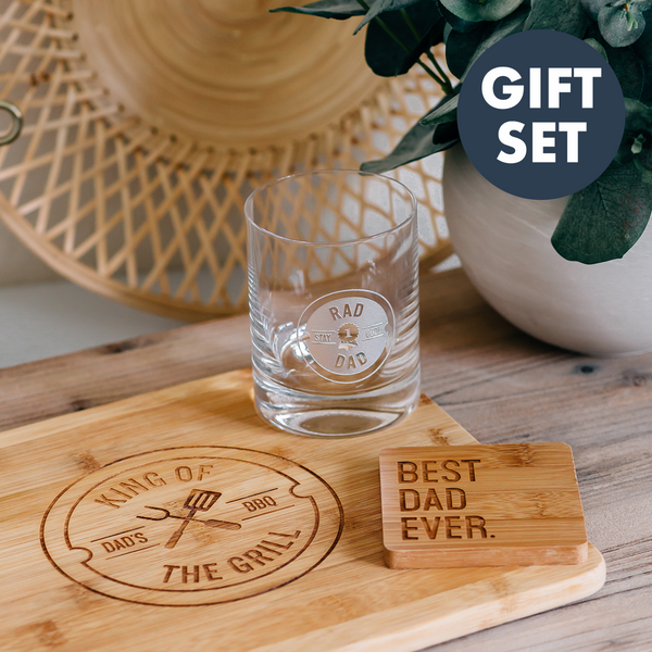 Gift Set: Father's Day Engraved Whiskey Glass, Cutting Board & Coaster