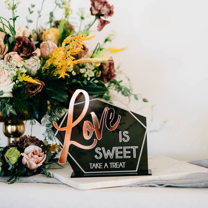 Love is Sweet Dessert Bar Tabletop Sign, Acrylic