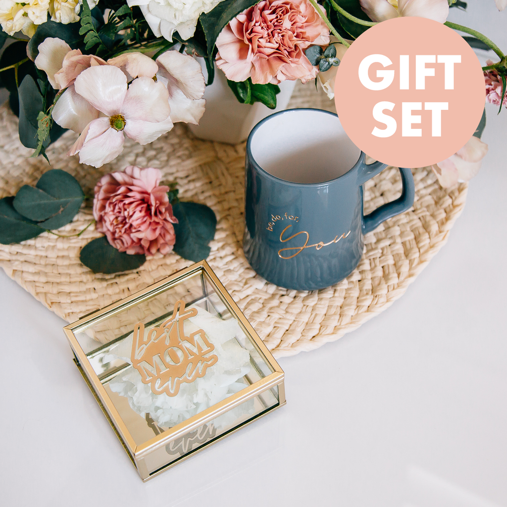 Gift Set: Best Mom Ever Engraved Jewelry Box & Engraved Slate Be You, Do You, For You Coffee Mug
