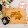 Gift Set: Mom Knows Best Engraved Cutting Board & Coffee Mug