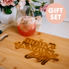 Gift Set: Best Mom Ever Engraved Stemless Wine Glass & Mom Knows Best Engraved Cutting Board